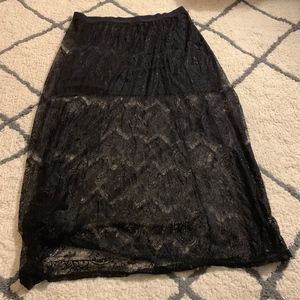 Black Lace Maxi Skirt with Attached Mini Skirt